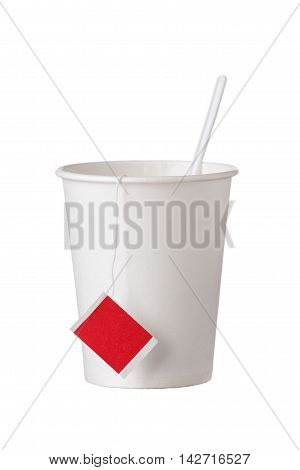 Cardboard Disposable Cup With Tea Bag And Spoon On White
