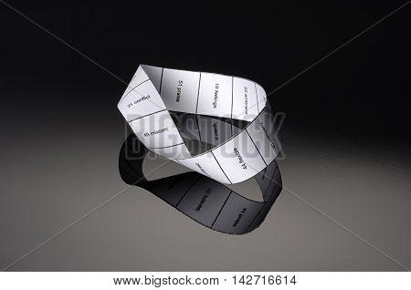 photography studio in the infinite tape moebius symbol in background