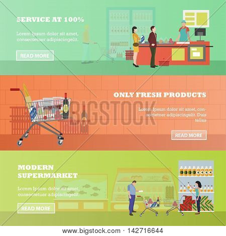 Supermarket vector banners in flat style. Customers buy products in food store. People shopping. Trolley cart with grocery products.