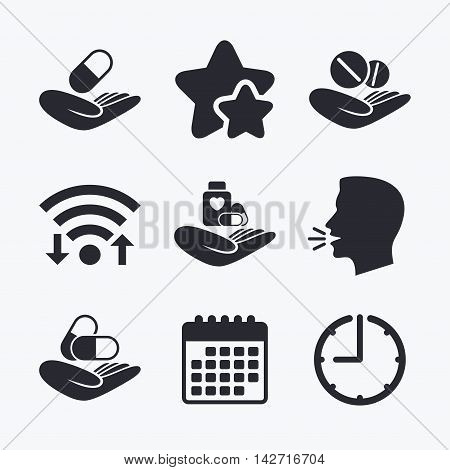 Helping hands icons. Medical health insurance symbols. Drugs pills bottle signs. Medicine tablets. Wifi internet, favorite stars, calendar and clock. Talking head. Vector