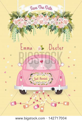Just married car with save the date wedding invitation card silhouette bride and groom in the car