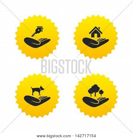 Helping hands icons. Shelter for dogs symbol. Home house or real estate and key signs. Save nature forest. Yellow stars labels with flat icons. Vector
