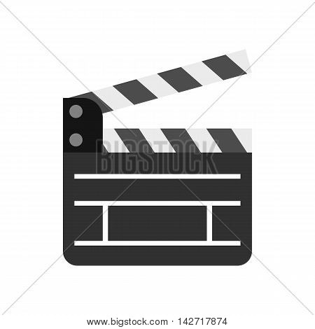 Clapboard icon in flat style on a white background