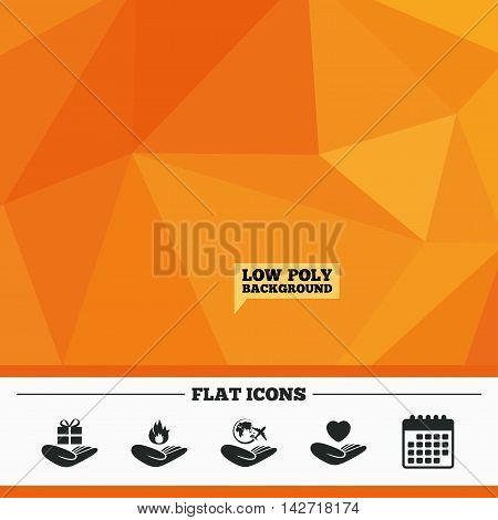 Triangular low poly orange background. Helping hands icons. Health and travel trip insurance symbols. Gift present box sign. Fire protection. Calendar flat icon. Vector