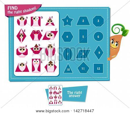 Visual Game for children. Task: find right shadom! Geometric shapes in the form of an owl.