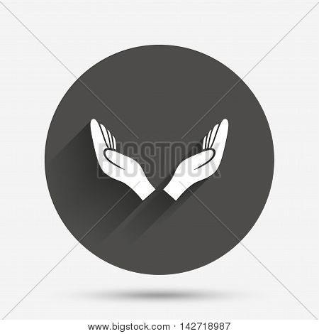 Pray hands sign icon. Religion priest faith symbol. Circle flat button with shadow. Vector
