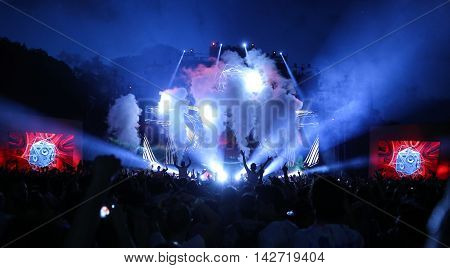 ISTANBUL, TURKEY - AUGUST 06, 2016: People have fun during Life in Color the Big Bang tour in Istanbul Life Park