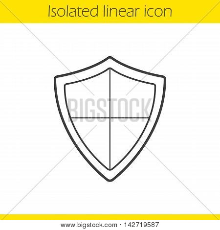 Heraldic shield linear icon. Thin line illustration. Protection, security, defence, guard and safety contour symbol. Vector isolated outline drawing