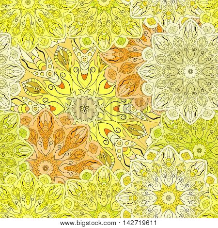 Golden seamless pattern with eastern floral ornament. Floral oriental design in aztec turkish pakistan indian chinese japanese style. Wrapping paper or front-side vector art