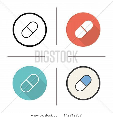 Pill icon. Flat design, linear and color styles. Isolated vector illustrations