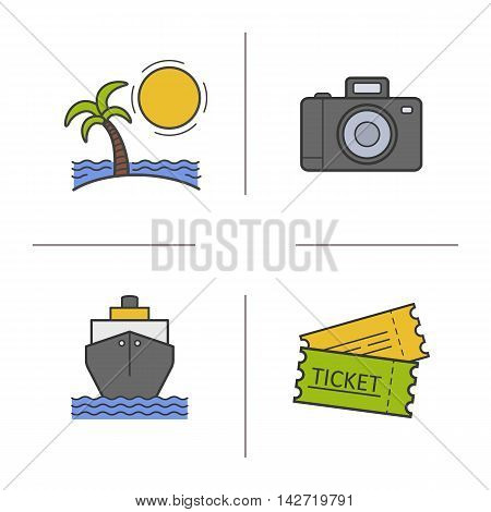 Travel color icons set. Sunny island with palm and sea waves, photo camera, cruise ship, trip tickets. Vacation and traveling vector isolated illustrations