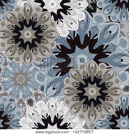 Seamless blue pattern with eastern floral ornament. Floral oriental design in aztec turkish pakistan indian chinese japanese style. Wrapping paper or front-side vector art