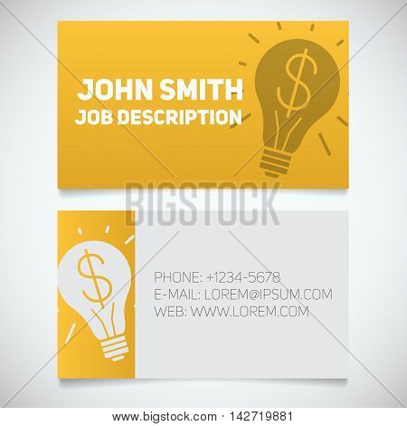 Business card print template with light bulb and dollar logo. Easy edit. Creative director. Startup manager. Stationery design concept. Vector illustration