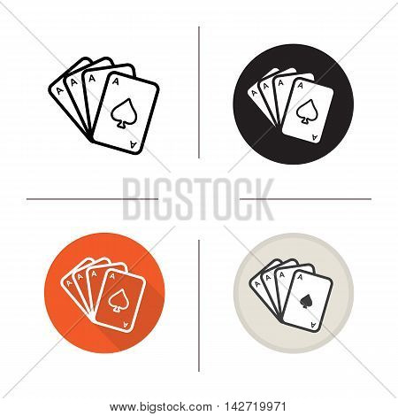Poker ace quads icon. Playing cards deck. Flat design, linear and color styles. Casino logo. Isolated vector illustrations