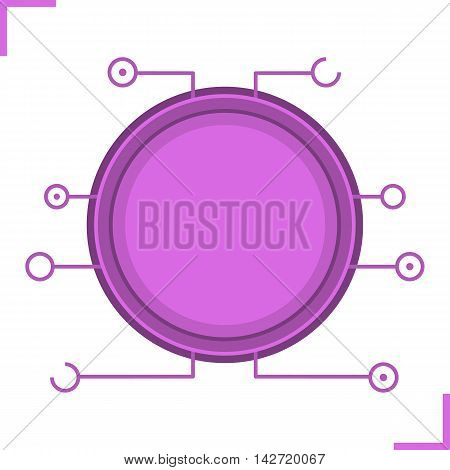 Digital microchip frame. Purple color futuristic chip set icon. Sci-fi user interface. Cyber technology background. Computer circuit board. Science fiction gui concept. Isolated vector illustration