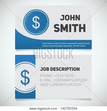 Business card print template with US dollar coin logo. Easy edit. Accountant. Bank worker. Stationery design concept. Vector illustration