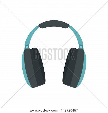 Headphones icon in flat style on a white background
