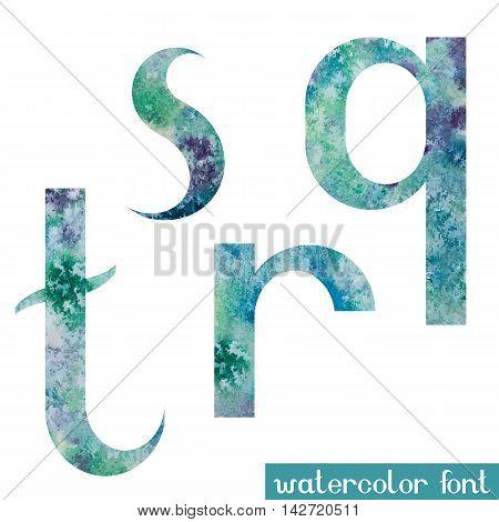 Colorful green-blue watercolor paint alphabet letters Q, R, S, T - vector Illustration