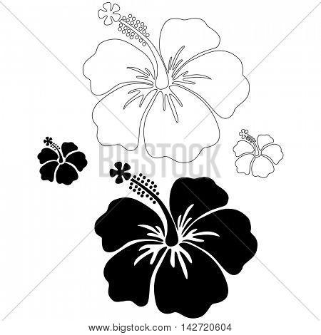 Hibiscus vector silhouettes