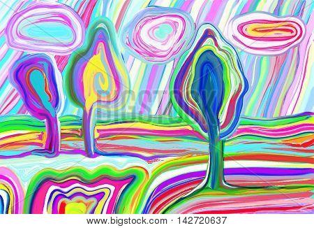 digital painting of summer landscape, creative artwork inspiration, modern impressionism, vector illustration