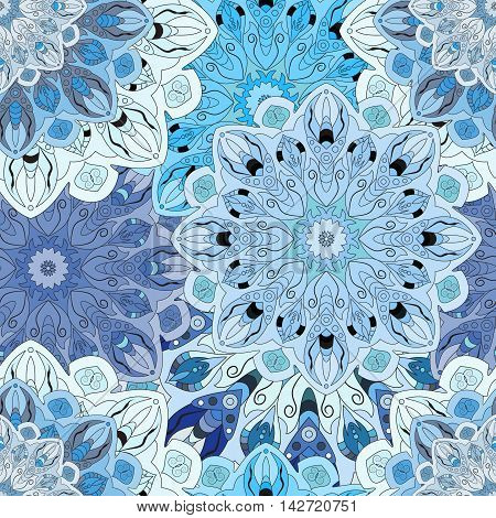 Pastel blue seamless pattern with eastern floral ornament. Floral oriental design in aztec turkish pakistan indian chinese japanese style. Wrapping paper or front-side vector art