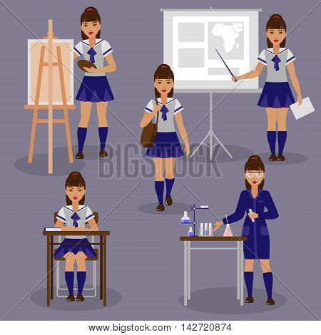 Schoolgirl in studying of different discipline. The girl is engaged at the lessons of chemistry geography and painting. Back to school set.