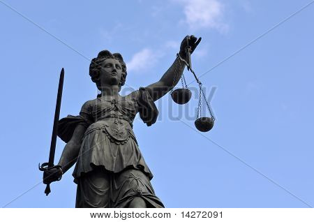 Statue Of Lady Justice In Frankfurt Germany