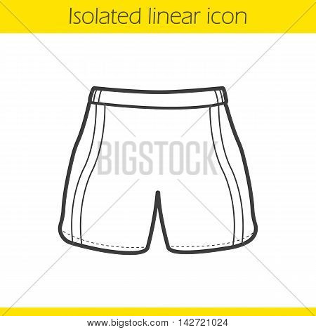 Sport shorts linear icon. Thin line illustration. Boxer trunks contour symbol. Vector isolated outline drawing