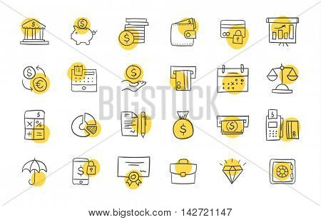 Set of finance and business icons. Freehand drawing style. Simple linear elements