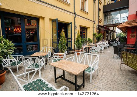 Tbilisi Georgia - May 19 2016: Cozy Outdoor Cafes In The Shardeni Street Of Old Town Tbilisi Georgia.