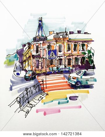 original hand draw marker sketch of Kyiv building landscape, pleinair sketching