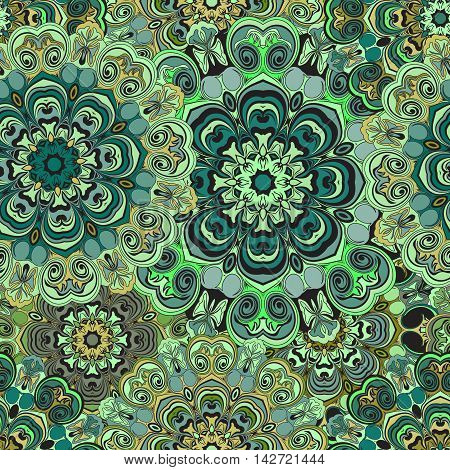 Green seamless pattern with eastern floral ornament. Floral oriental design in aztec turkish pakistan indian chinese japanese style. Wrapping paper or front-side vector art