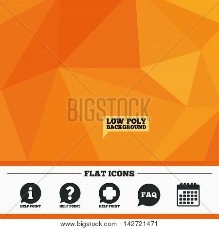 Triangular low poly orange background. Help point icons. Question and information symbols. FAQ speech bubble signs. Calendar flat icon. Vector