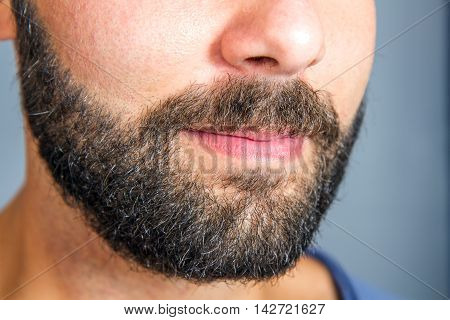 a Closeup of beard and mustache man