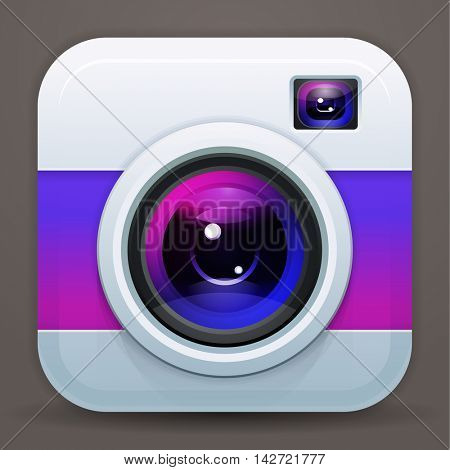 Photo camera icon, vector shiny lens. Purple reflex