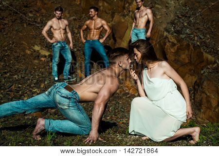Four Sexy Muscular Men And Woman