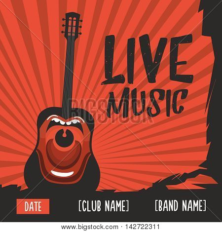 Live music poster with a screaming guitar