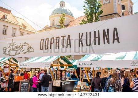 Ljubljana, Slovenia - May 6, 2016: Food festival called Odprta Kuhna that lasts every Friday from mid-March to October. This festival is very popular among tourist and slovenian people.