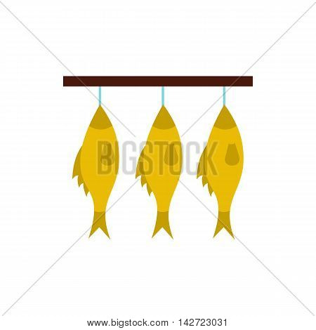 Stockfish hanging on a rope icon in flat style isolated on white background