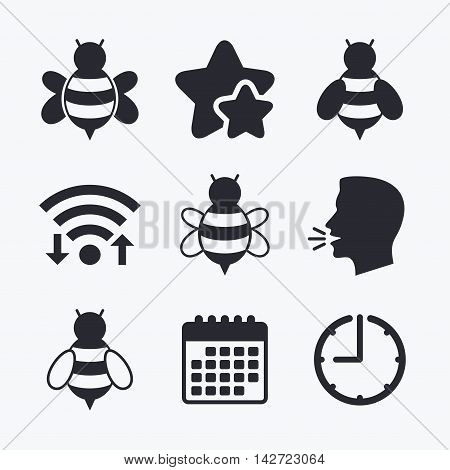 Honey bees icons. Bumblebees symbols. Flying insects with sting signs. Wifi internet, favorite stars, calendar and clock. Talking head. Vector