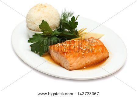 Gourmet food - fish steak on white