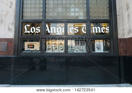 Los Angeles, USA - August 8, 2016 : The Los Angeles Times Building, located at 1st and Spring streets in downtown Los Angeles, opened in 1935 occupied entirely as a metropolitan daily newspaper publishing operation.