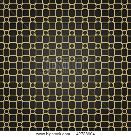 Seamless black and golden ornament. Modern geometric pattern with repeating elements