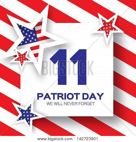 Origami Patriot Day background with star. We will never forget. Paper cut Poster Template. Abstract american flag background. September 11, 2001. Vector illustration