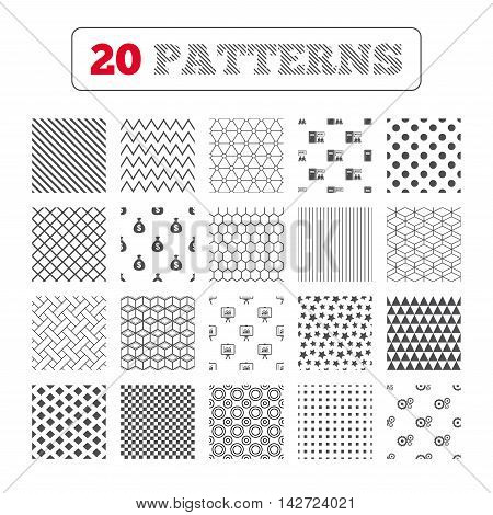 Ornament patterns, diagonal stripes and stars. Human resources icons. Presentation board with charts signs. Money bag and gear symbols. Man at the door. Geometric textures. Vector