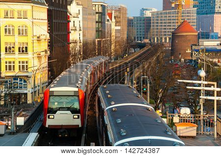 Trains arriving at the Landungsbrucken station in Hamburg, Germany
