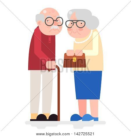 Old Couple Happy Characters Love Together Adult Old Icon Flat Design Vector Illustration