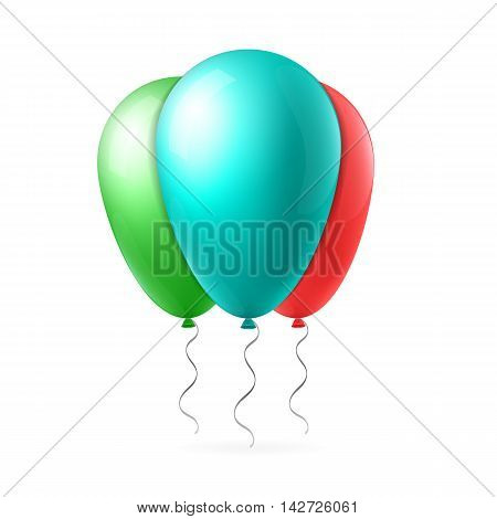 Abstract creative concept vector green and red flight balloon with ribbon. For Web and Mobile Applications isolated on background, art illustration template design, business infographic and social media icon.