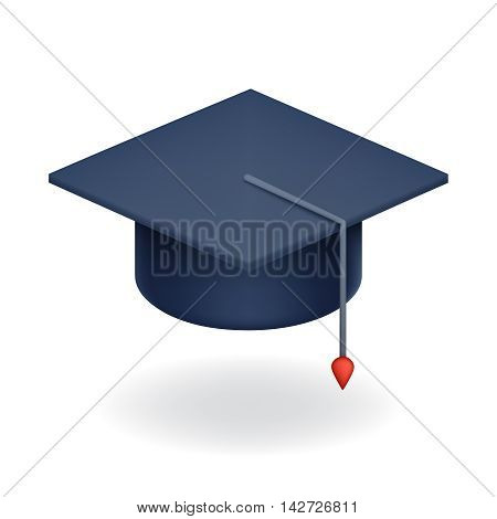 University Graduation Cap Icon University Student Education Symbol Isolated Realistic design vector illustration