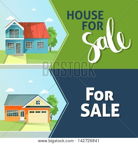 Set of banners property sale. Family house. Flat style modern buildings. Rent of the home. Vector illustration